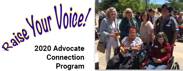 Raise Your Voice! 2020 Advocate Connection Program. Image of six people, standing and sitting, on the Tx Capitol steps.